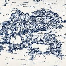 round tablecloth french country toile nautical cotton blue 90