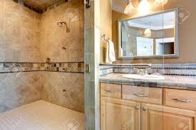 Open Shower Luxury Bathroom Interior With Tile Wall Trim Open Shower And