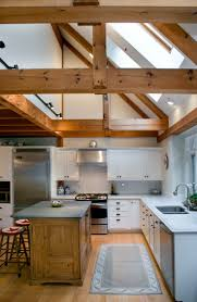 Great Post and Beam kitchen-partial cathedral ceiling, love the natural  light!