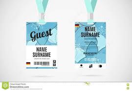 Lanyard Badge Design Guest Id Card Set Vector Design Illustration Stock Vector