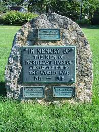 reddish elaine higgins lawn next to somesville library bench plaque reynolds ralph w northeast harbor armed forces monument across from northeast