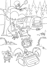 Open Season In Forest Coloring Pages