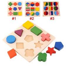 New <b>Kid Baby Wooden</b> Geometry Block Puzzle Montessori Early ...