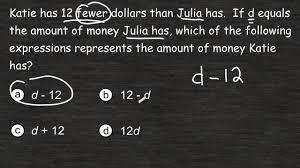 writing a simple algebraic expression from a word problem