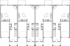 Main Floor Plan 2 for F-566 Fourplex house plans, 2 story townhouse,