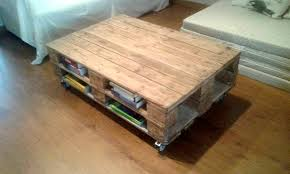 pallet coffee table with book storage