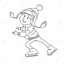 Vettoriale Boy Pattinaggio Su Ghiaccio Outline Personaggio Dei