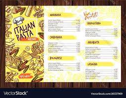 free food menu templates restaurant menu template free printable pasta vector image