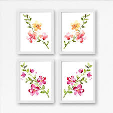 set of 4 printable fl wall art