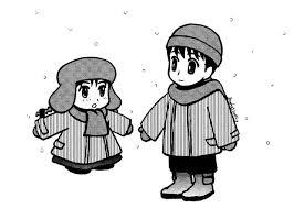 イラスト男の子 女の子 冬 雪 中澤麻穂イラスト無料素材のイラスト