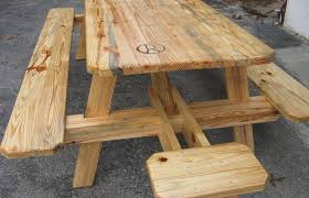 modern outdoor ideas medium size round wooden picnic table with attached benches redwood wood plans