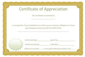 Free Appreciation Certificate Templates - Bombaynights.info
