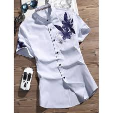 Patterned Button Up Shirts Magnificent Wholesale Flower Printed Button Up Shirt 48xl White Online Cheap