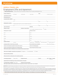 sample forms interexchange sample employer offer and agreement form for the self placement program page