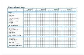 Chore List Template Sch N Daily Chart Excel Free Download
