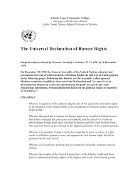 the universal declaration of human rights the universal declaration of human rights atlantic cape community college heritage of the