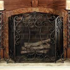 antique fireplace screen on custom quality electric with wrought