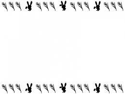 十五夜白黒のうさぎとすすきのお月見フレーム飾り枠イラスト 無料