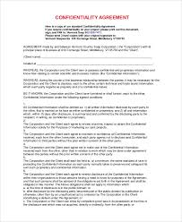 8+ Sample Standard Confidentiality Agreements | Sample Templates