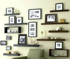 photo wall design ideas install wooden shelves and family framed photos as brilliant decor decorating long