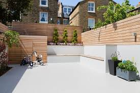 Contemporary fencing ideas patio contemporary with victorian house  landscaped garden wood paneling