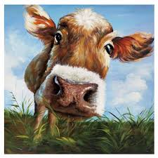 on two cows canvas wall art with hello canvas print