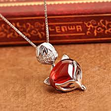 details about women 925 sterling silver garnet red stone fox animal jewelry necklace gift box