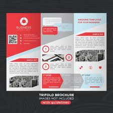 Tri Fold Brochure Layout Red Gray Business Trifold Brochure Layout Template Vector Free