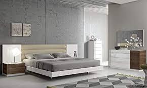 Amazon.com: J&M Furniture Lisbon White Lacquer & Walnut Wood Veneer ...