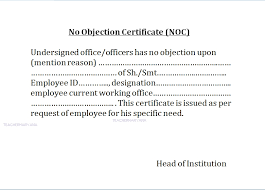 No Objection Certificate Format From Employer Pdf No Noc Paso