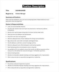 Dishwasher Job Description Custom Dishwasher Job Description Enchanting Dishwasher Job Description For