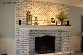 How To Whitewash Brick Ruby Bloom Painted Brick Fireplace