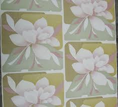Retro Vintage Behang Magnolia Bloemen Behang Roze Groen