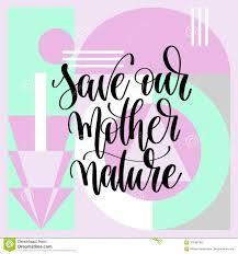 Sauvez Notre Lettrage De Main De Mère Nature Illustration De Vecteur