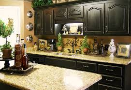 decorating ideas for kitchen. Delightful Interior Kitchen With Black Wooden Cabinet Also Granite Top Decorating Ideas For L