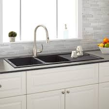 Black Kitchen Sink And Taps 46 Tansi Double Bowl Drop In Sink With Drain Board Black Kitchen