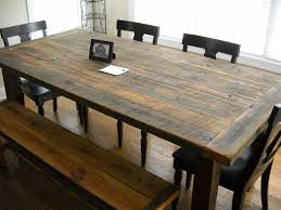 diy rustic farmhouse kitchen table made from reclaimed wood with bench and 4 wooden chairs with black leather seats ideas