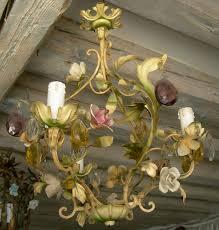 antique italian enamel tole porcelain flowers crystal cage tole chandelier