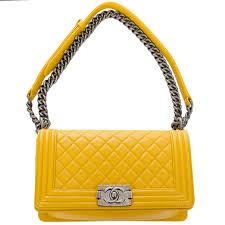 chanel yellow. chanel medium boy quilted calfskin bag in yellow image 5