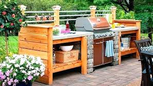 outdoor kitchen ideas diy bbq with oak cabinets