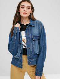 zaful women blue cargo pocket faded denim jacket blue cotton 295584601 aopbkjf