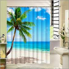 tropical beach shower curtain palm tree star fish pattern 3d print fabric washable bath curtain for