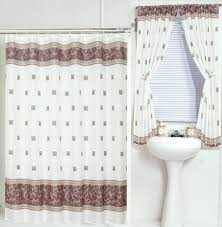 Matching Bathroom Window Curtains With Bathtub Curtain Design