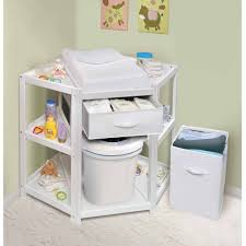 badger basket diaper corner baby changing table with hamper and