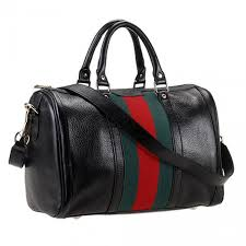 gucci vintage web black cowhide leather medium boston bag green and red stripe malaysia