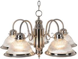 monument 5 light brushed nickel chandelier with clear glass