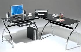 glass top office desk modern. Glacier Modern Glass Home Office Desk Desks Black Minimalist L Shaped Furniture Penaime Great Top T