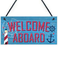 Welcome Aboard Nautical Seaside Marine Theme Gift Hanging Plaque Bathroom  Sign | eBay