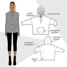 Sweatshirt Pattern Simple SW48 Hooded sweatshirt PDF sewing pattern by Kommatia Patterns