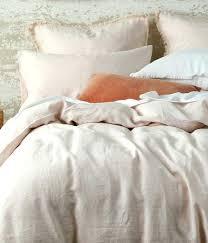 laundered linen duvet set blush cover washed